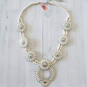 White Squash Blossom Style Necklace NWT